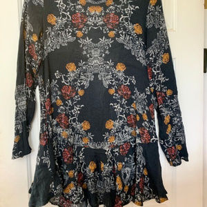 Free People black long sleeve dress with open back
